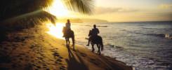 Lovaglás az arany homokos part mentén Dominika