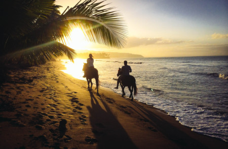 Horse riding along the golden sandy beach in Dominica