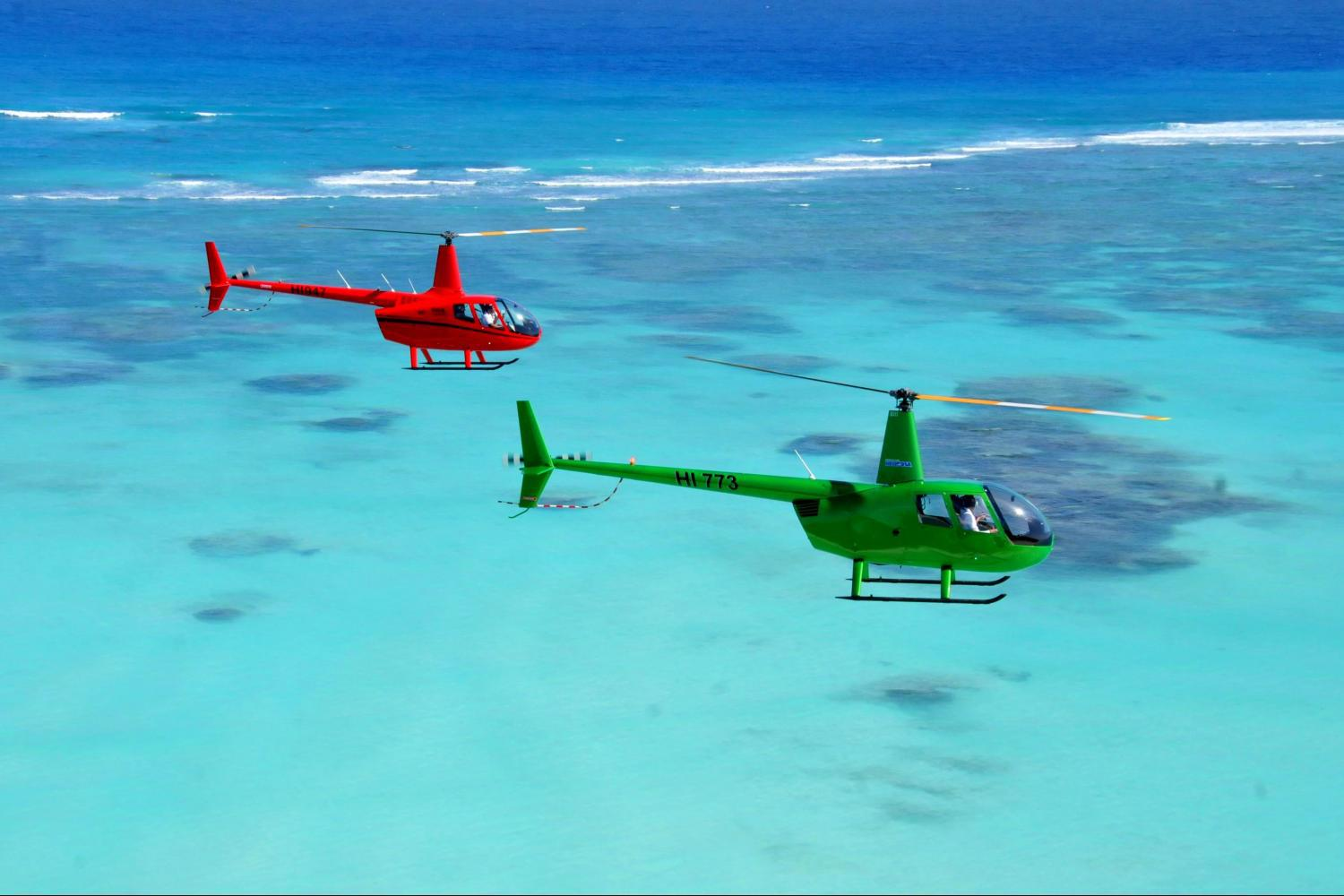 Helicopter flight over the coast of Punta Cana