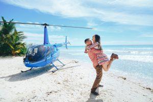 Ostrov Saona s vrtuľníkom